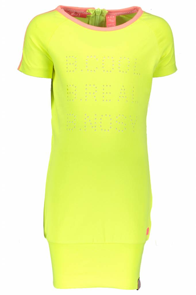 B.Nosy B.Nosy jurk jersey with zipper at the back electric yellow