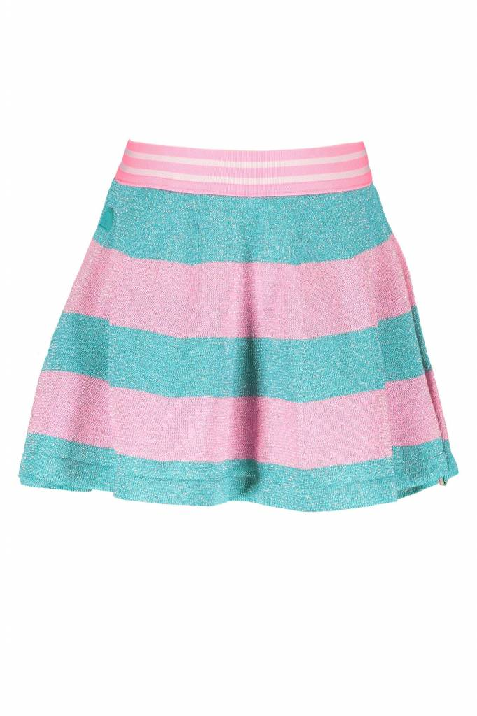 B.Nosy B.Nosy rokje knitted lurex stripe hot turquoise