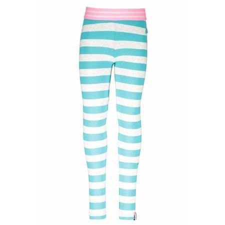 B.Nosy B.Nosy legging stripe ecru melee hot turquoise