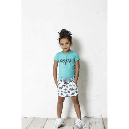 B.Nosy B.Nosy T-shirt with round smock part at neck hot turquoise
