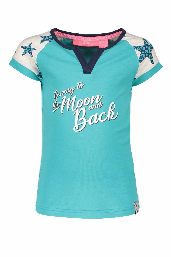 B.Nosy B.Nosy T-shirt raglan stripe with star sleeves hot turquoise