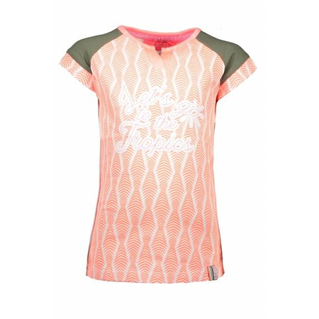 B.Nosy B.Nosy T-shirt zebra ao print with contrast sleeves bright salmon