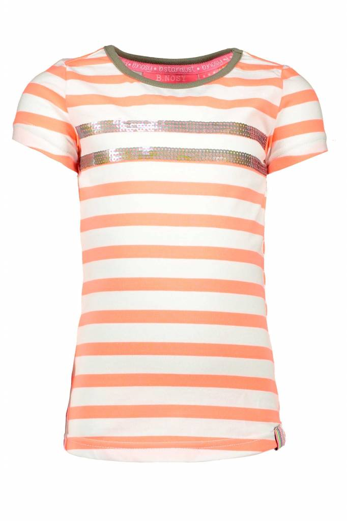 B.Nosy B.Nosy T-shirt stripe with sequinces rows multicolor