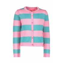 Vest knitted stripe hot turquoise