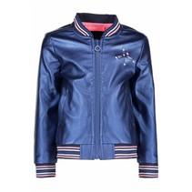 Jasje fake leather with color stripe rib metallic royal blue