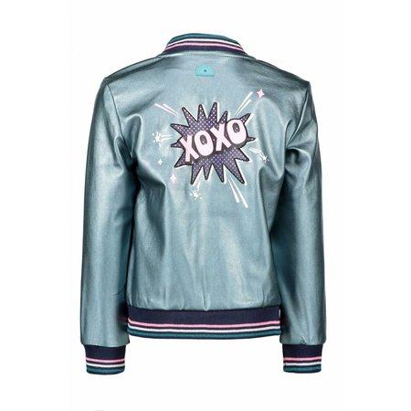 B.Nosy B.Nosy jasje fake leather with color stripe rib metallic hot turquoise