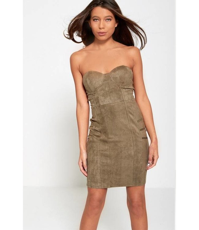 Ax Paris Dames Mini Jurk - Khaki Groen