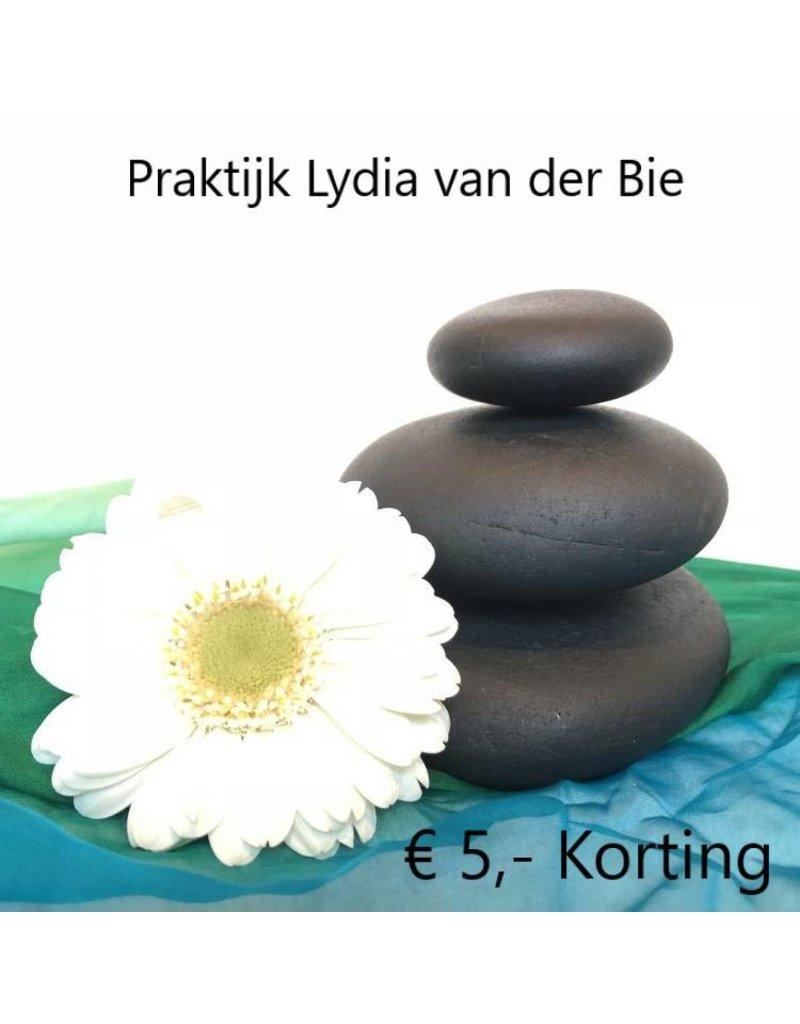 1x €5 korting op eerste behandeling bij Praktijk Lydia van der Bie in Oud-Beijerland