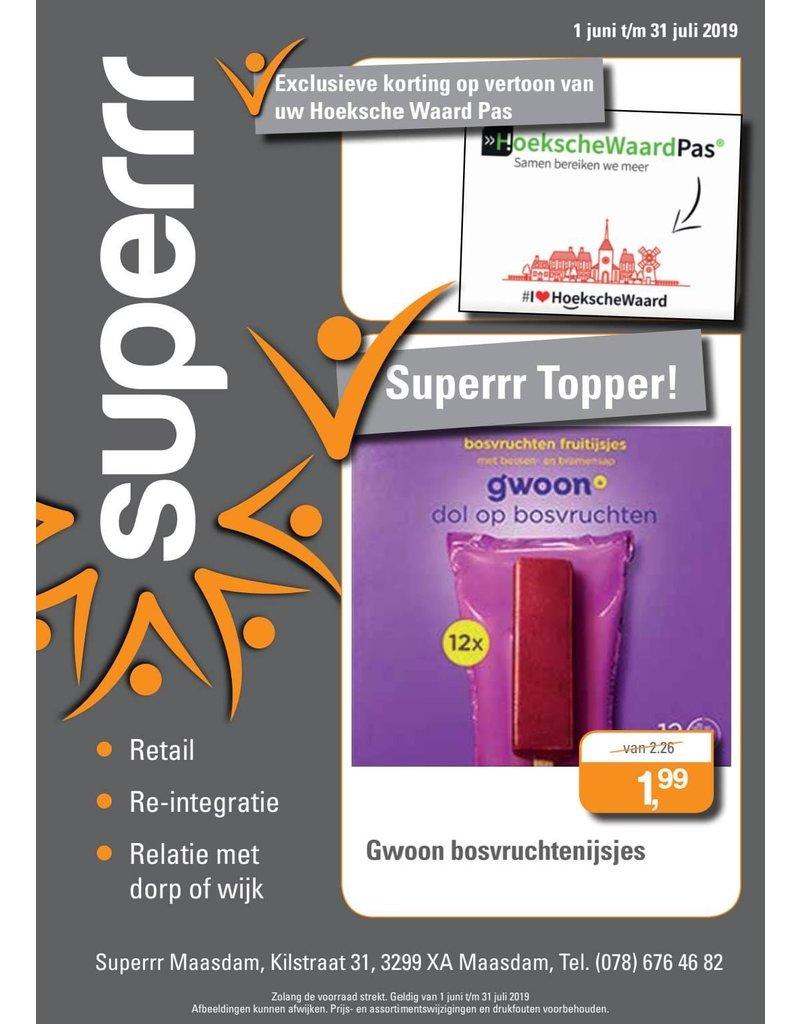 Onbeperkt bosvruchtenijsjes van €2,26 voor €1,99 bij Superrr in Maasdam