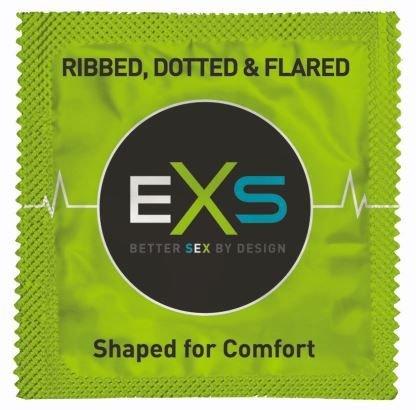 EXS Ribbed, Dotted & Flared Condooms - Ribbels En Nopjes 12 stuks (zonder doosje)