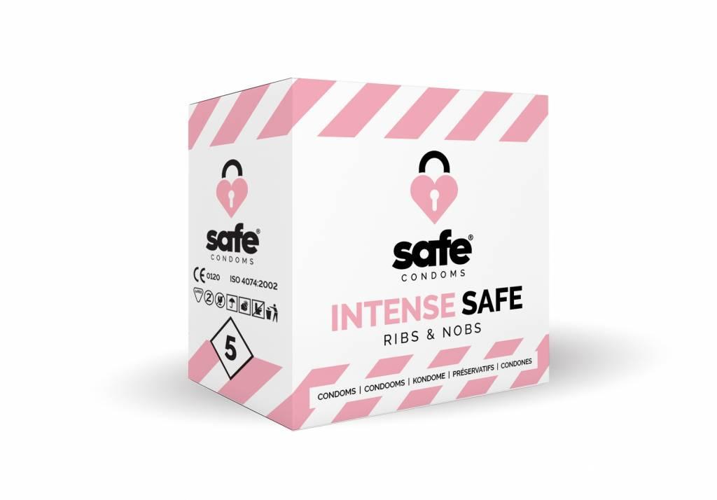 Safe Intense Condooms - Met Ribbels En Nopjes 5 stuks