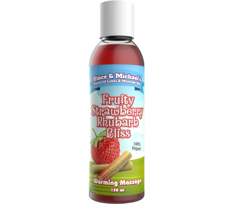 Vince & Michael's Fruity Strawberry Rhubarb Bliss flavored warming massage lotion (150ml)
