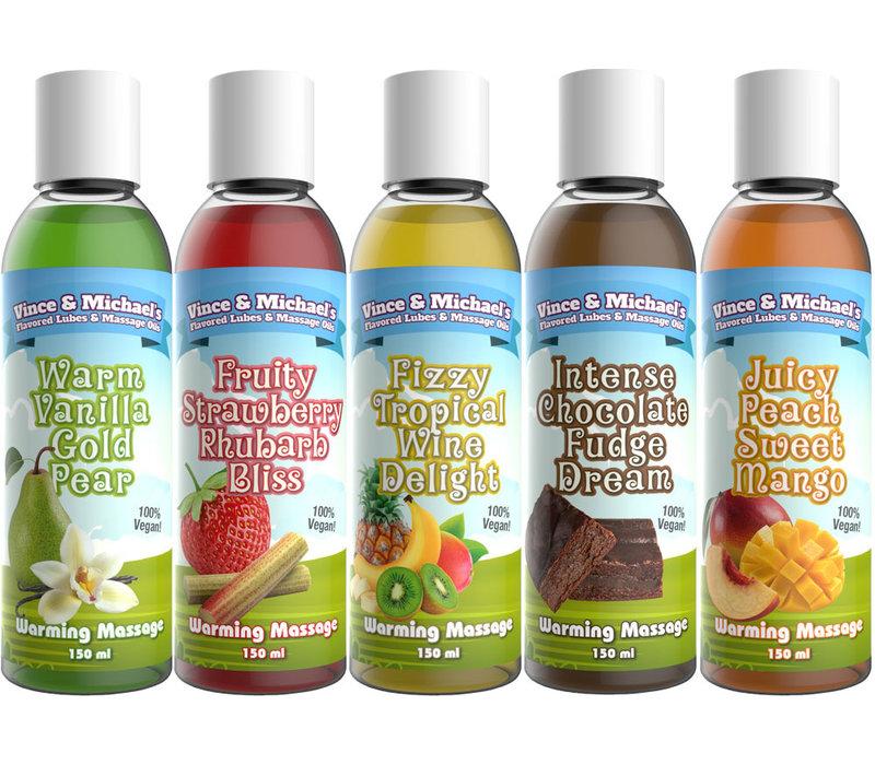 Vince & Michael's 5 verschillende smaken verwarmende massage lotion