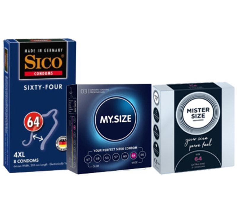Condoompakket maat 64 - 14 ruimere condooms
