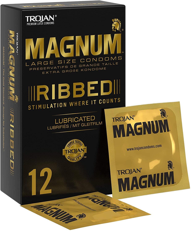 Trojan Magnum Ribbed - 12 Ruimere Condooms Met Ribbels