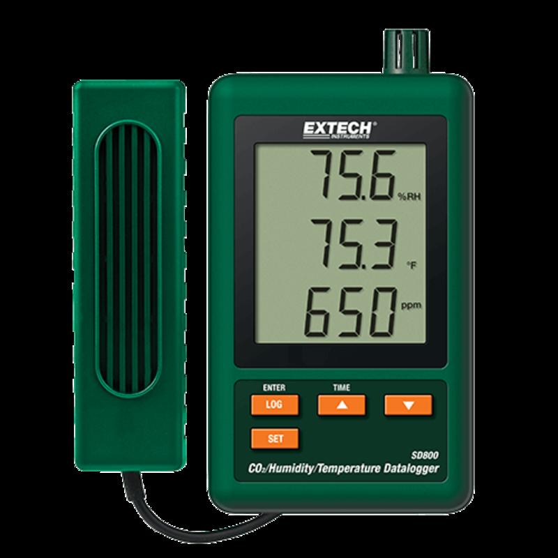 EXTECH SD800: CO2, vochtigheid en temperatuur datalogger