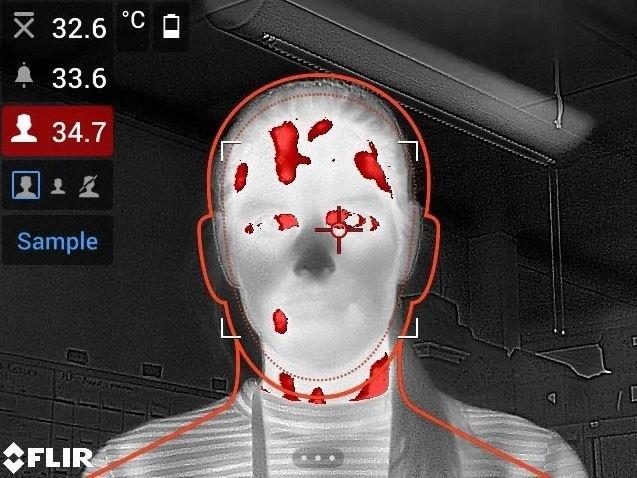 Corona virus controle met warmtebeeldcamera
