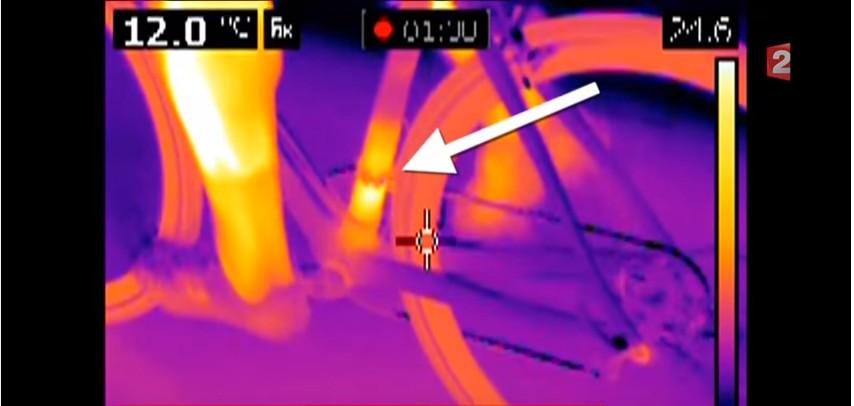 Mechanische doping - FLIR Warmtebeeldcamera ziet motortje in fietsframe