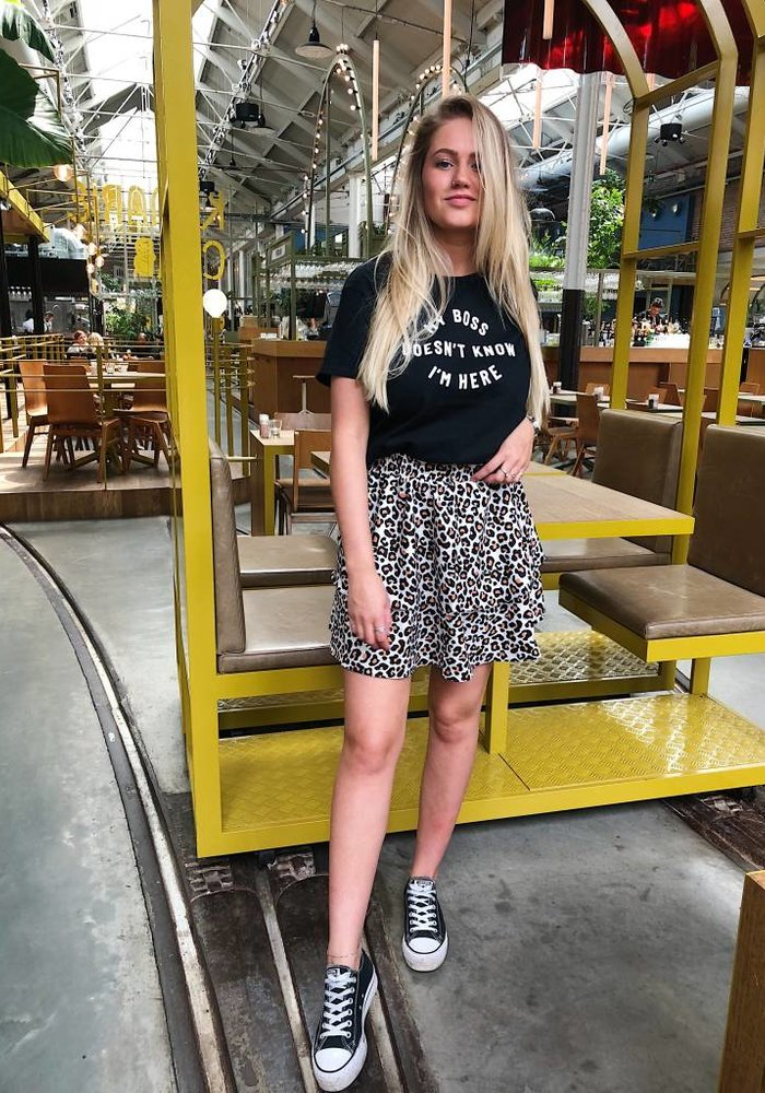 Leopard Skirt White