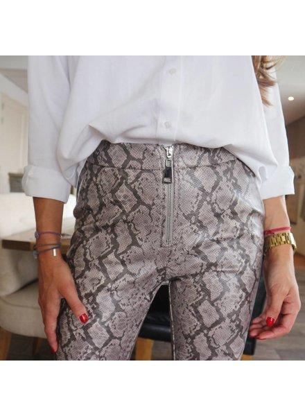 Snake Leather Pants - Grey