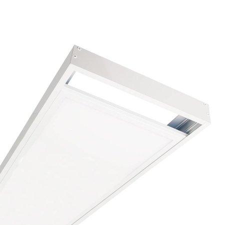 LED paneel 120x30 opbouw frame - Wit aluminium incl. schroeven - 5cm hoog
