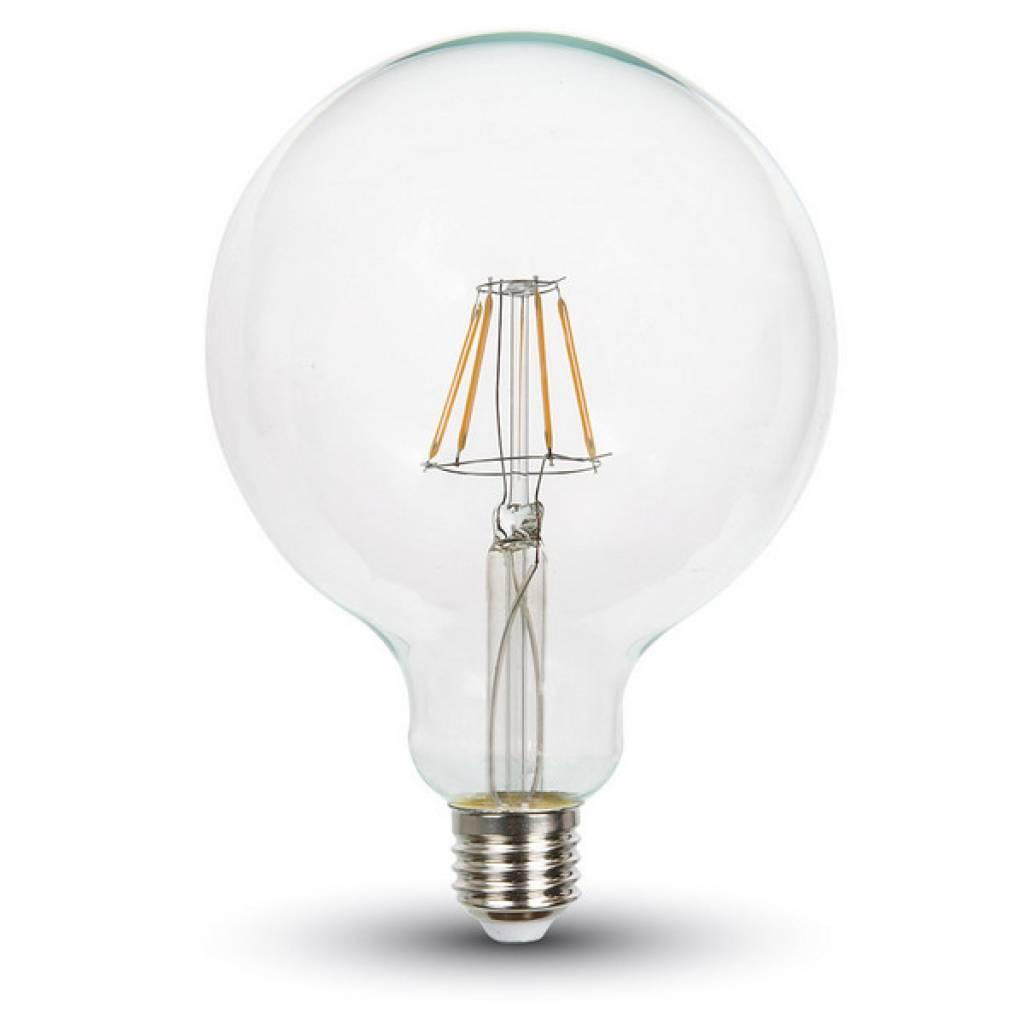 dimbare led lamp 4w met filament 2700k xl globe helder glas