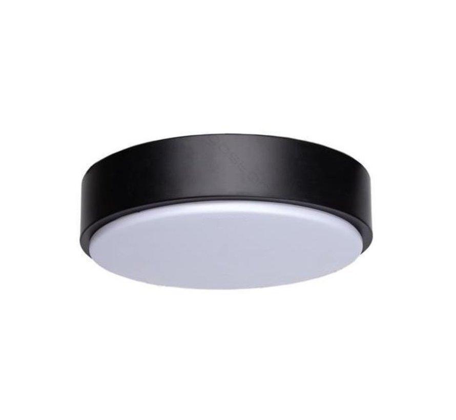 LED paneel opbouw rond Zwart - 12W vervangt 60W - Lichtkleur optioneel - 230x50mm