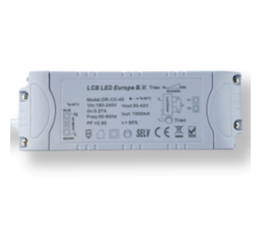 Dimbare LED driver - Triac / fase aansnijding - voor 36W/40W LED paneel - 30-42V 1000mA