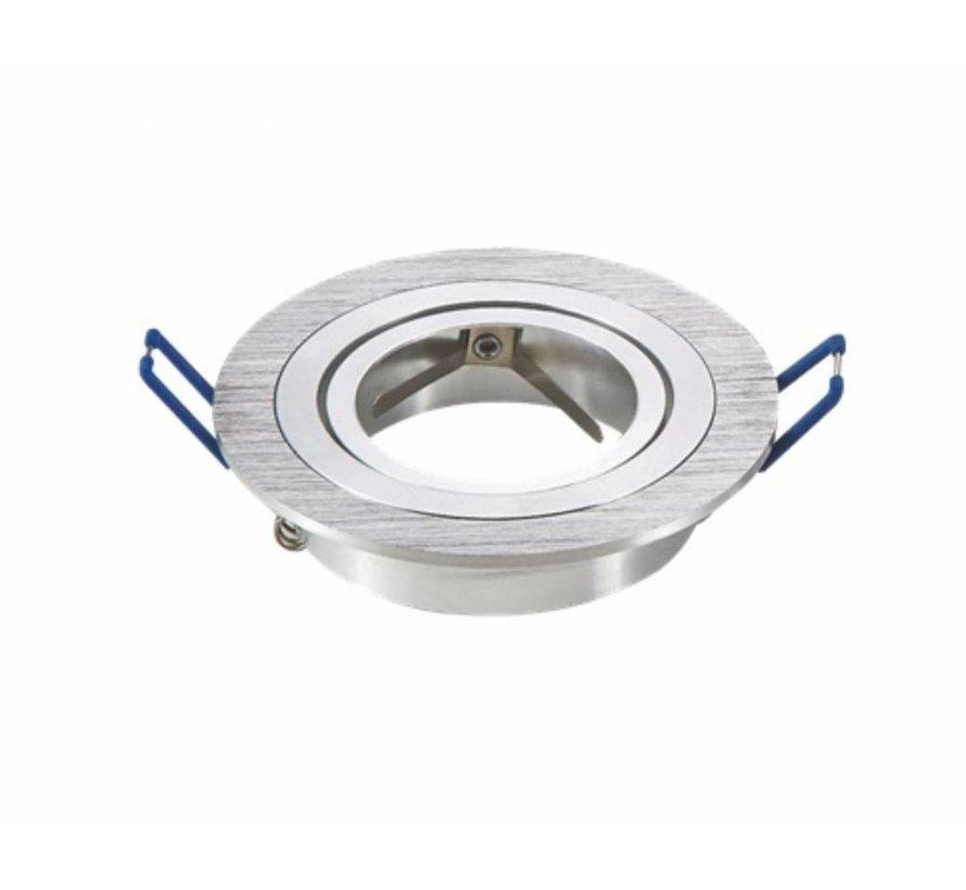Inbouwspot Rond - Geborsteld Aluminium - Kantelbaar - Zaagmaat 75mm - Buitenmaat 91mm