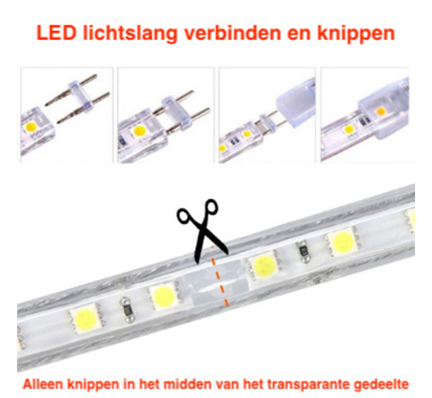 LED Lichtslang plat - 6000K - Lengte optioneel - Plug and Play