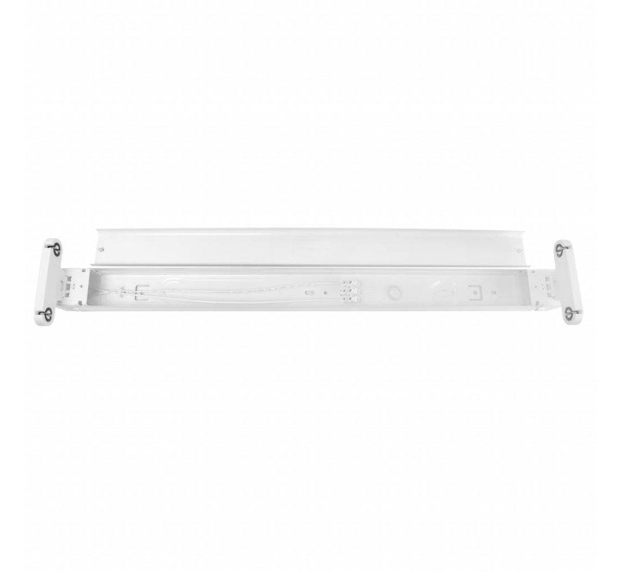 LED TL armatuur - 60cm wit aluminium - voor een dubbele LED TL buis