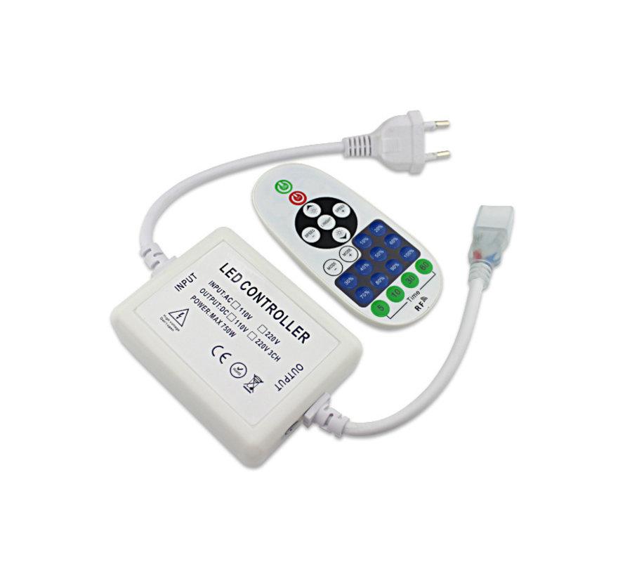 LED lichtslang dimmer - Radiografisch met afstandsbediening - Geschikt voor enkelkleurige LED lichtslang