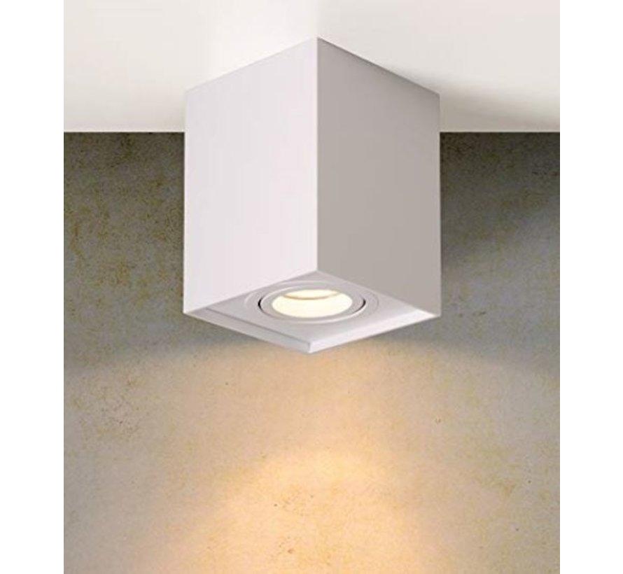 LED Plafondspot - Wit - Cube Vierkant - GU10 fitting - Kantelbaar - Excl. LED spot