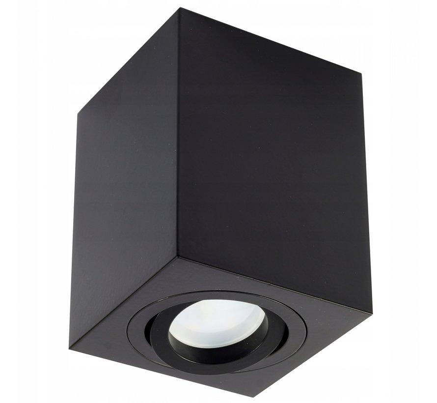 LED Plafondspot - Zwart - Cube Vierkant - GU10 fitting - Kantelbaar - excl. LED spot