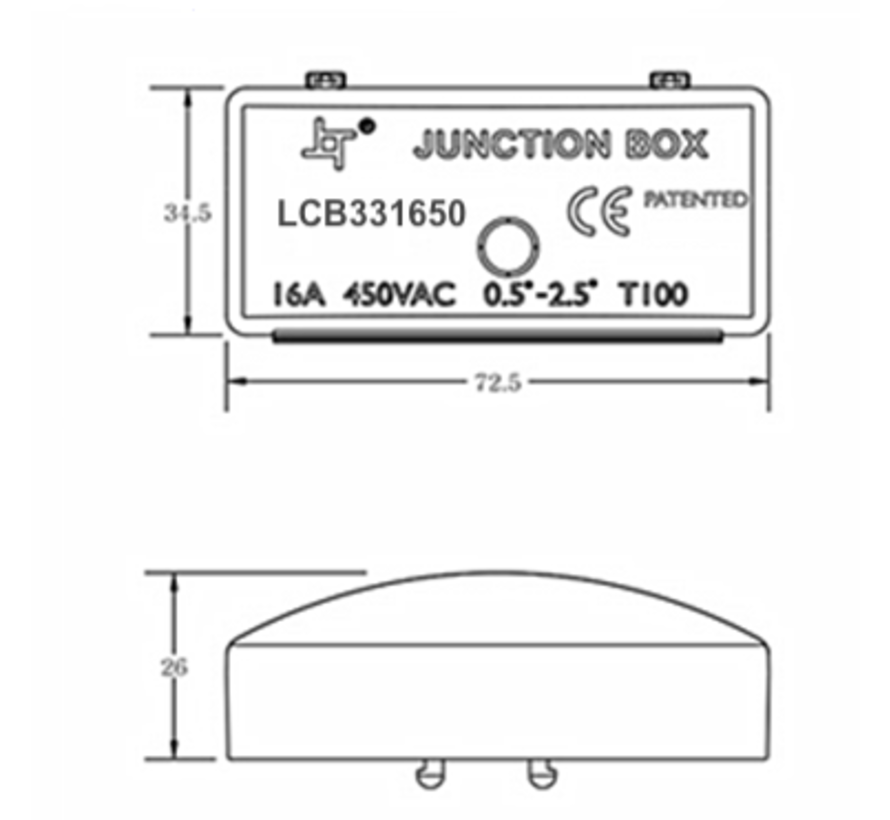 Lasdoos met kroonsteen - 3-aderig 0,25mm² tot 2,5 mm² - IP44