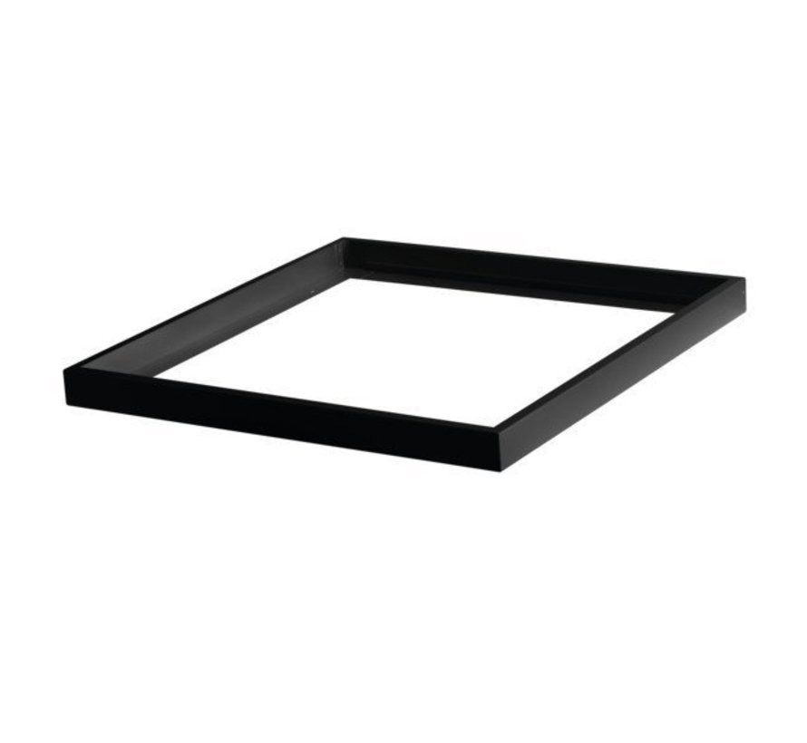 LED paneel opbouw Zwart Aluminium  - 60x60cm frame systeem - 5cm hoog incl. schroeven