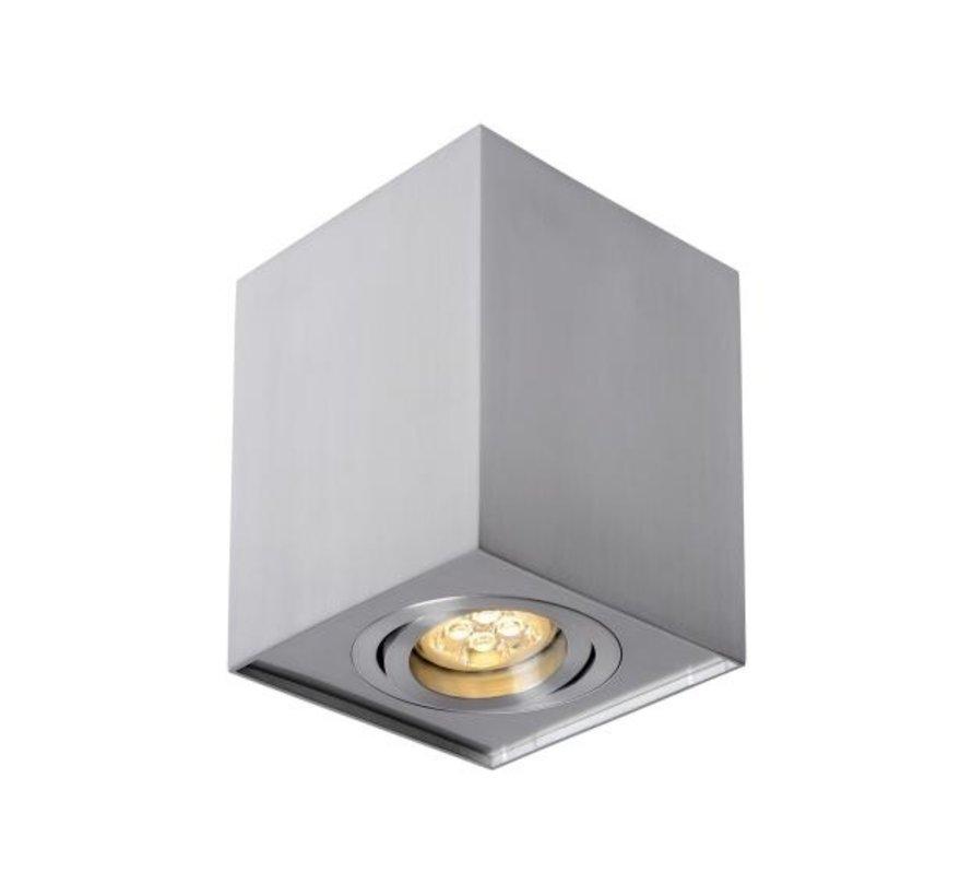 LED Plafondspot - Zilver Aluminium - Cube Vierkant -  met GU10 fitting - kantelbaar - excl. LED spot