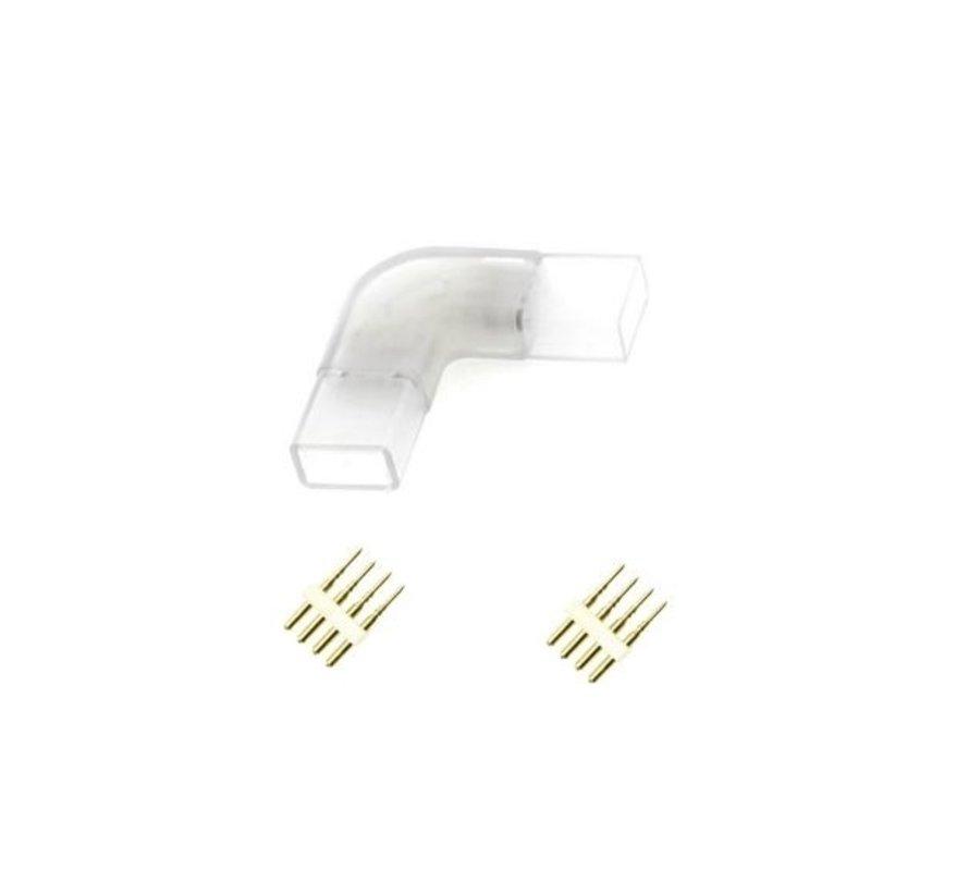 LED lichtslang RGB 4 pins - L - Hoek  connector aansluiting  plastic