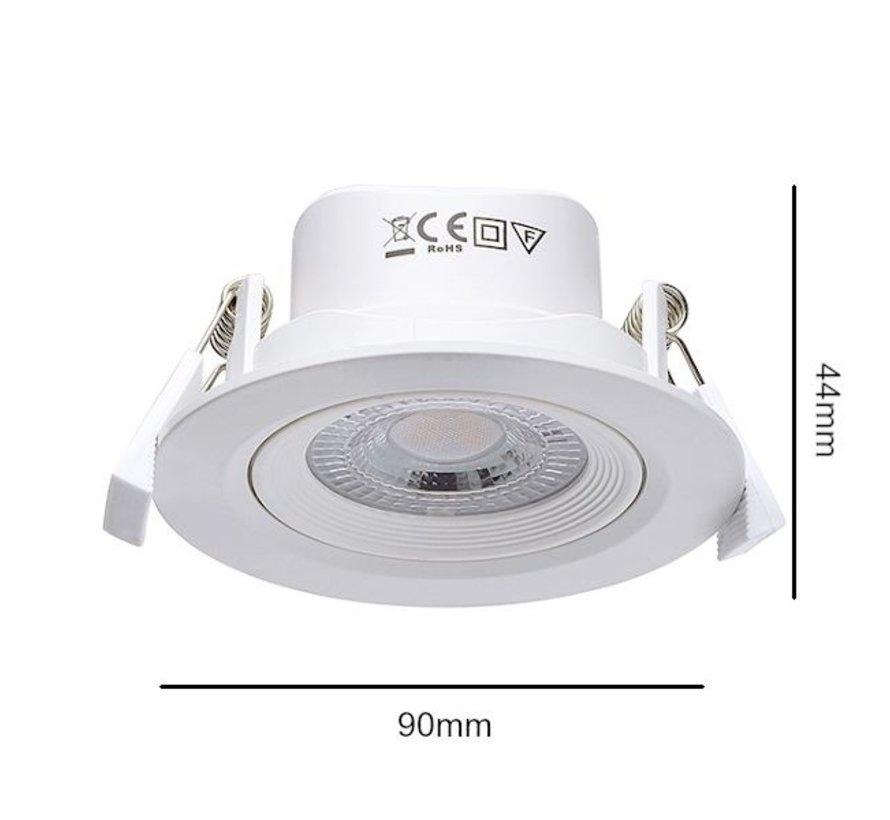 LED Inbouwspot rond - 3000K warm wit licht - 5W vervangt 50W - Kantelbaar