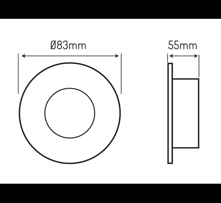 LED inbouwspot zwart rond - Badkamer IP44 - zaagmaat 73mm - buitenmaat 83mm