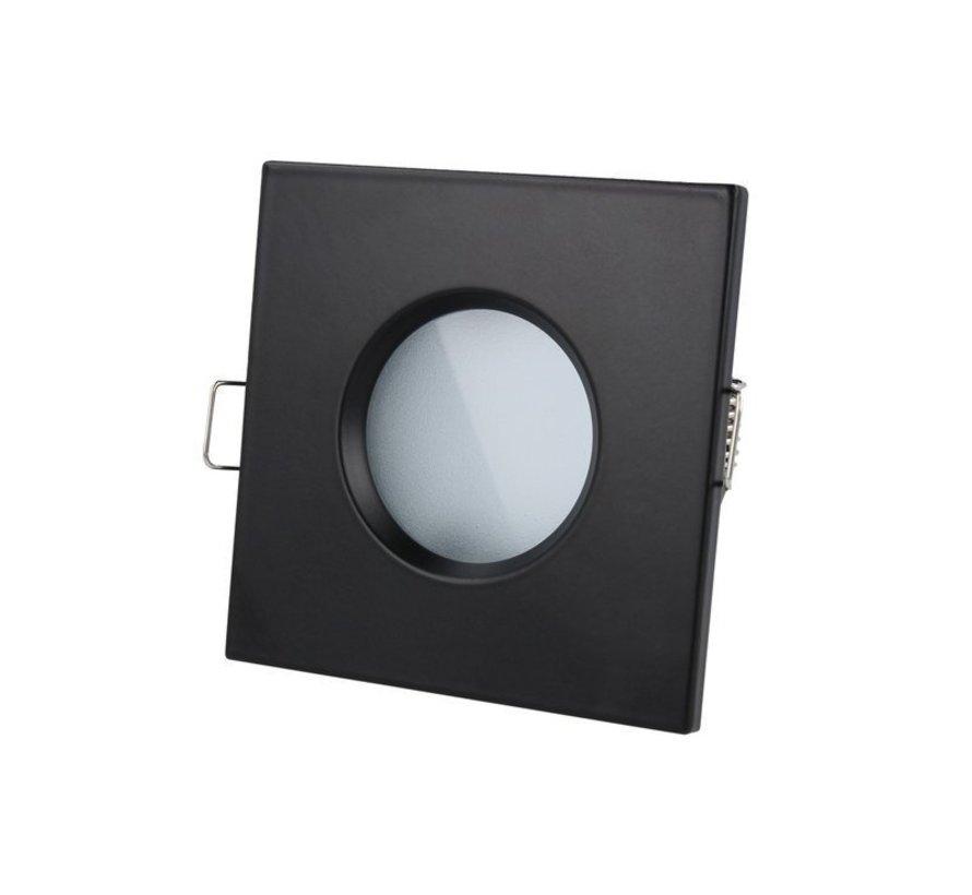 LED inbouwspot zwart vierkant - Badkamer IP44 - zaagmaat 73mm - buitenmaat 84mm