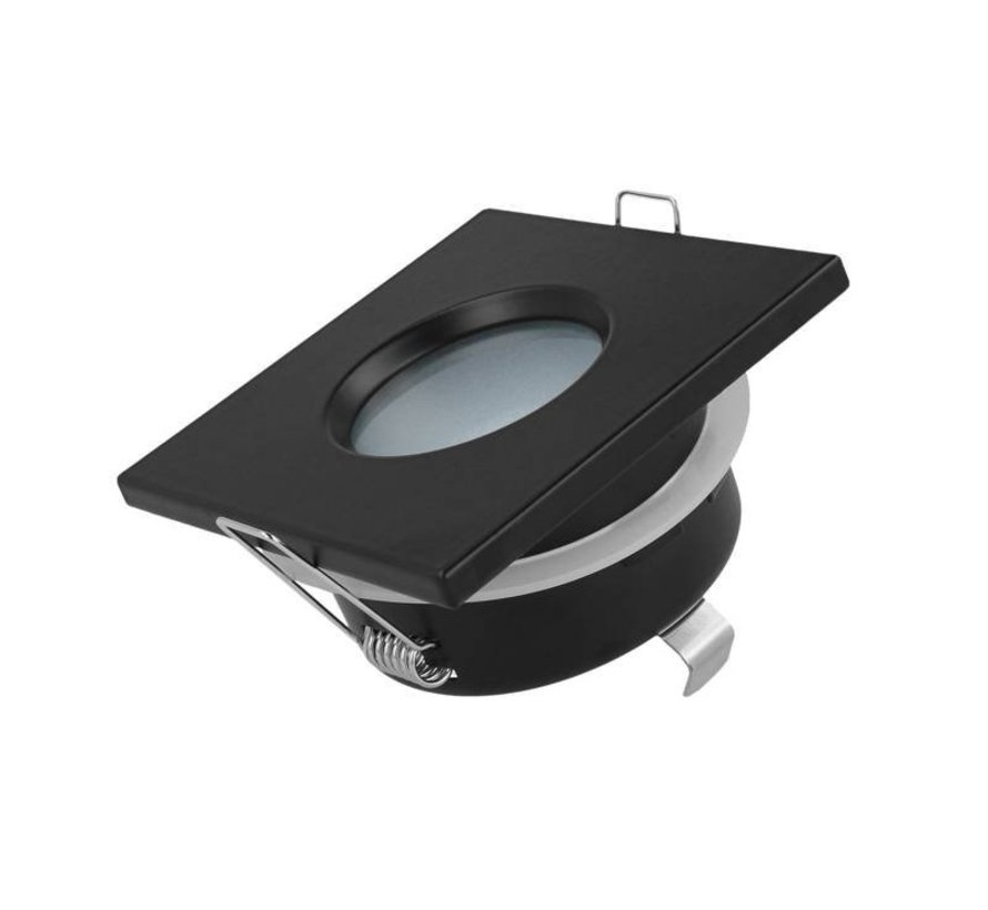 LED inbouwspot zwart vierkant - IP44 - zaagmaat 73mm - buitenmaat 84mm