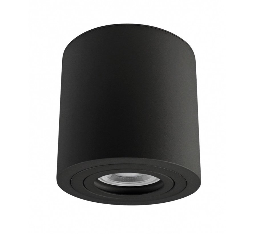 LED Plafondspot IP65 - Zwart - Tube rond - met GU10 fitting - excl. LED spot