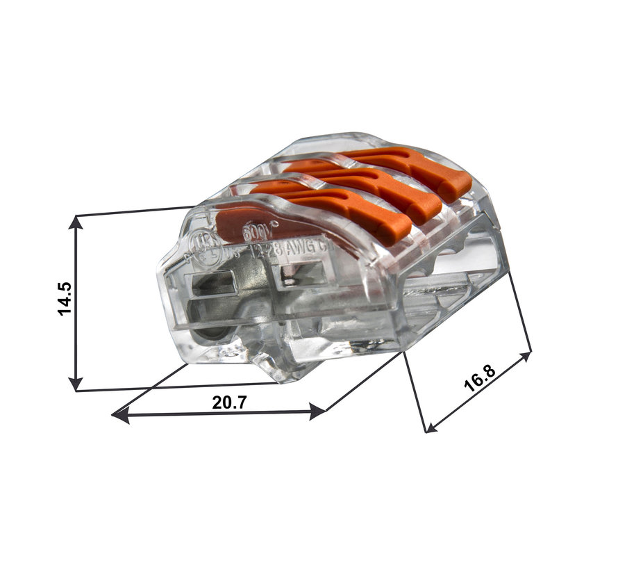 Conex verbindingsklem lasklem 3-polig 0,5 tot 4mm² - voor flexibele en massieve draden - Prijs per stuk