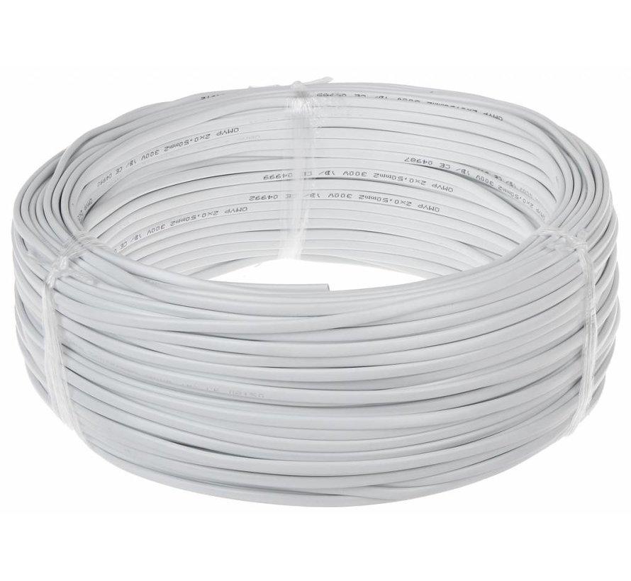 Aansluitsnoer - 100m - 2x0,75 mm2 met witte mantel - plat
