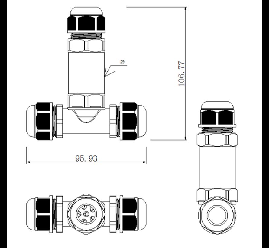 Waterdichte kabel verbinder 3 polig 0.5 - 1mm² IP68 - T splitsing