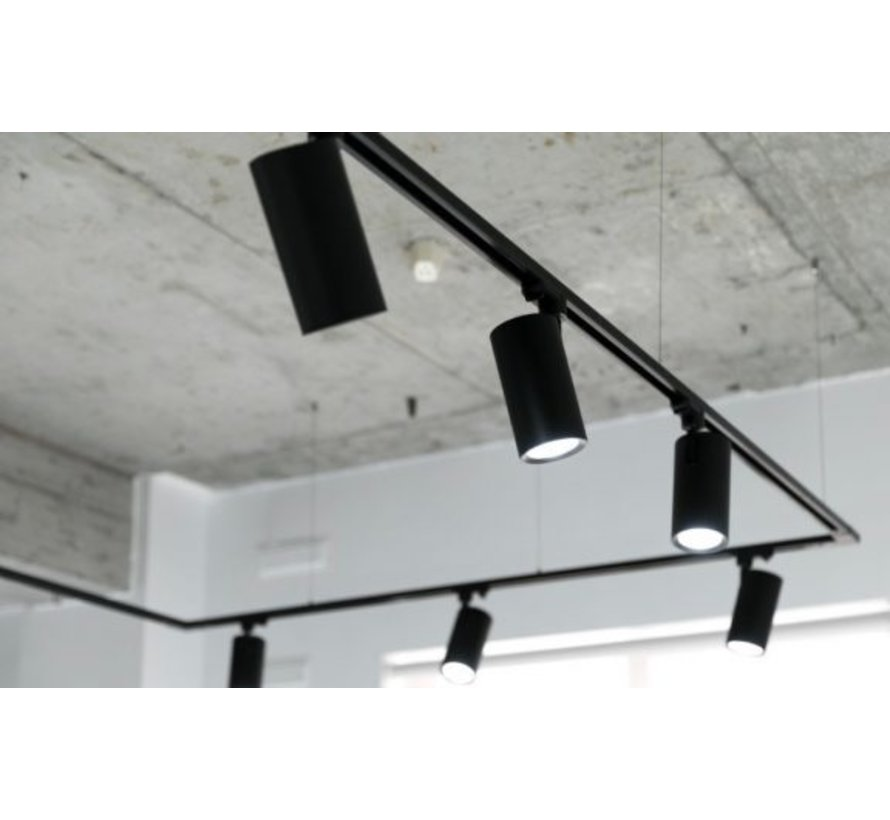 LED Railspot Zwart - Universeel 3-Phase - GU10 fitting, verwisselbare spot