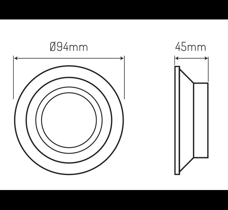 LED inbouwspot rond - Zilver / Wit - zaagmaat 75mm - buitenmaat 94mm