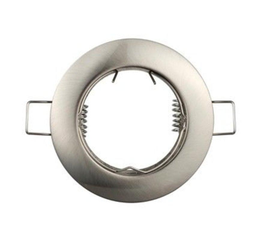 Inbouwspot satijn nikkel rond - niet kantelbaar - zaagmaat 60mm - buitenmaat 80mm