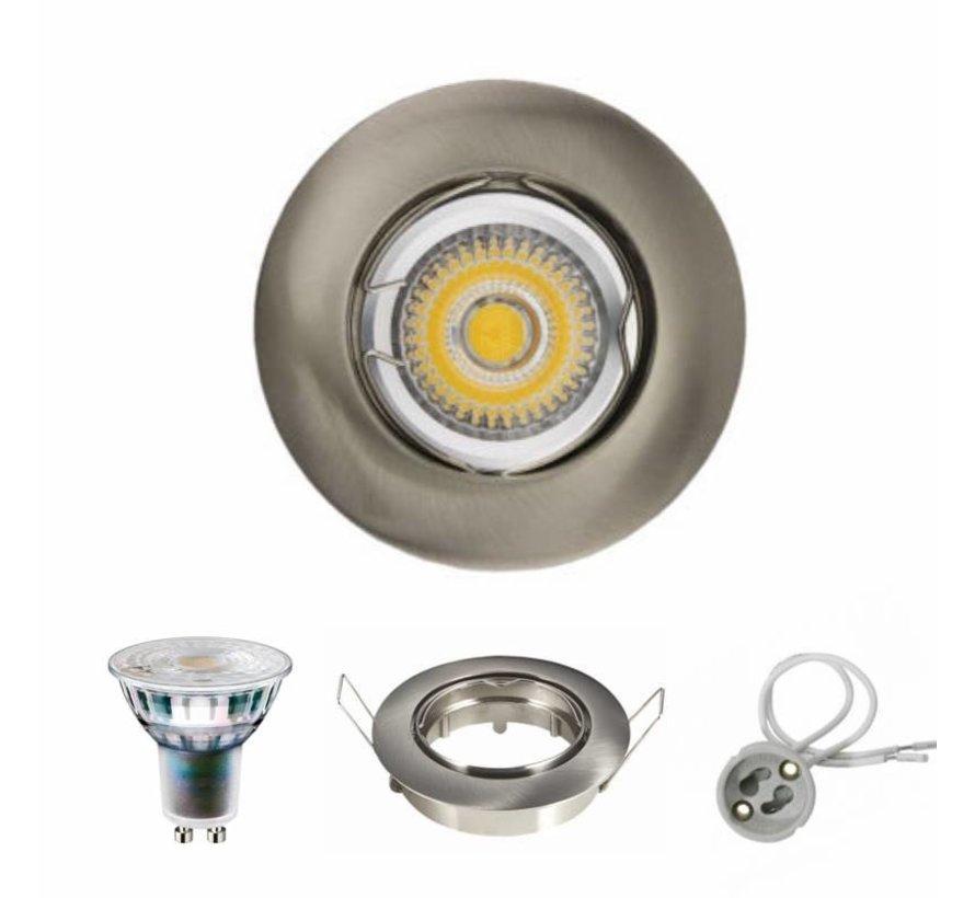 Dimbare LED inbouwspot GU10 compleet - 5,5W Lichtkleur optioneel -  Satijn nikkel rond kantelbaar